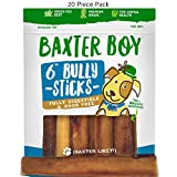 "Baxter Boy 6-inch Premium Grade Odor Free Bully Sticks Dog Treats [Extra-Thick], (20 Pack) – 6"" Long All Natural Gourmet Dog Treat Chews – Fresh and Savory Beef Flavor – 30% Longer Lasting"