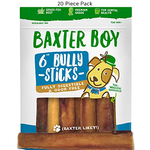 "Baxter Boy 6-inch Premium Grade Odor Free Bully Sticks Dog Treats [Extra-Thick], (20 Pack) – 6"" Long All Natural Gourmet Dog Treat Chews – Fresh and Savory Beef Flavor – 30% Longer Lasting by Baxter Boy"