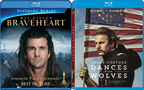 Dances With Wolves (25th Anniversary Edition) + Braveheart Blu Ray 2 Pack Epic Movie Action Set