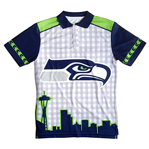 FOCO Seattle Seahawks Polyester Short Sleeve Thematic Polo Shirt Extra Large by FOCO
