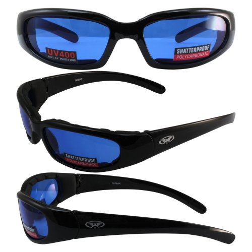 Chicago Foam Padded Sunglasses SHINY Black Frame Motorcycle Goggles Various Lens Options Chicago Lens Color: Blue - Chicago Sunglasses