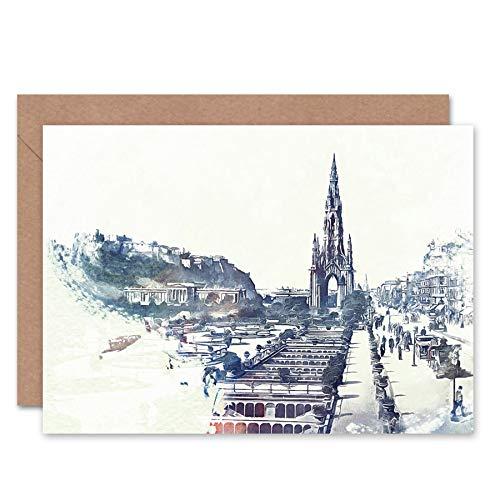 nces Street Edinburgh 1900 Birthday Gift Blank Greetings Card CL1153 ()