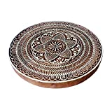 8 Inch Exclusive Large Wooden Block Floral Round Design Big Printing Stamp
