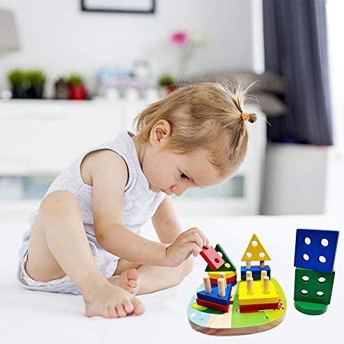 Giocattolo di Legno, Montessori Giocattoli Legno per Bambini, Giochi Educativi per Bambini, Forme Geometriche Impilatore, Regalo di Natale di Compleanno per 2/3/4/5 Anni