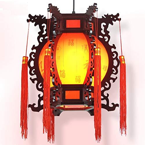 - Qivor Chinese Antique Chandelier Restaurant Wooden Chandelier Lantern Decoration Decorative Chandelier 3335cm Red (Size : 50cm)
