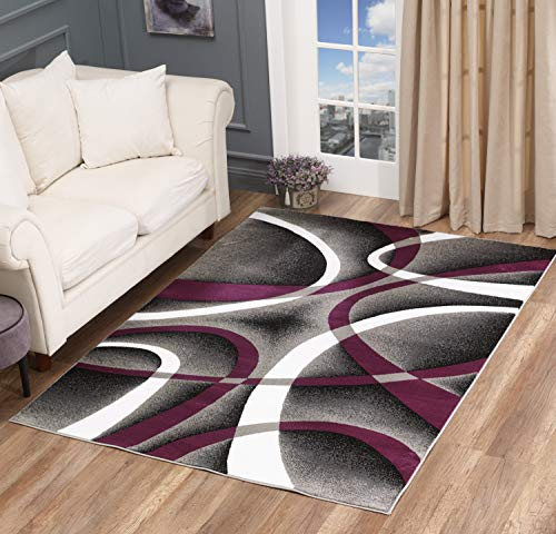 Golden Rugs Modern Area Rug Swirls Carpet Bedroom Living Room Contemporary Dining Accent Sevilla Collection 4816 (5x7, Purple) (Rug And Purple Area Gray)