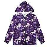 Unicorn Hoodie for Girls Fall Spring Sweatshirts Zip Up Jackets for Kids 6t
