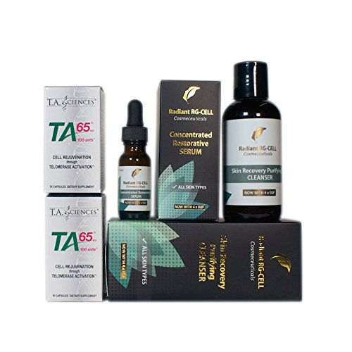 T.A. Sciences | TA-65 Supplement | 2x30 Capsules | 100 U | Free $149.00 Value | Rg-Cell Concentrated Restorative Serum with EGF &AFA Algae+Face Cleanser