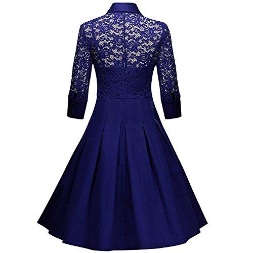 Aecibzo Style Vintage Manches 3/4 En Dentelle Noire 1950 Femmes Flare Robe D'une Ligne Bleue