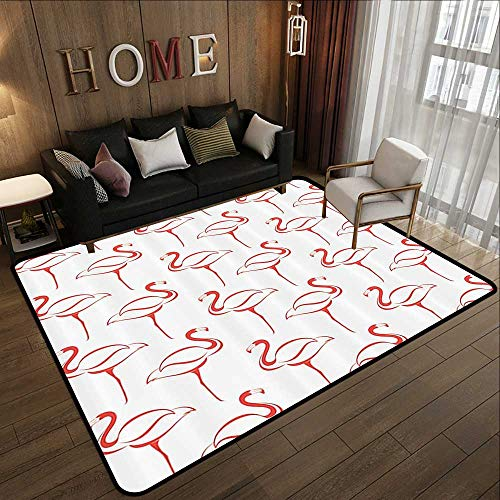 Outdoor Rugs,Flamingo Decor Collection,Flamingo Shape Outline Big Birds Caribbean Decorative Artful Illustration Image,Coral and Whit 63