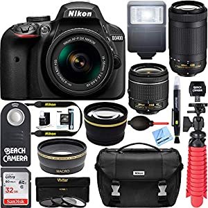 Nikon D3400 24.2 MP DSLR Camera + AF-P DX 18-55mm & 70-300mm NIKKOR Zoom Lens Kit + 64GB Memory Bundle + Nikon Photo Bag + Wide Angle Lens + 2x Telephoto Lens + Flash + Remote +Tripod+Filters