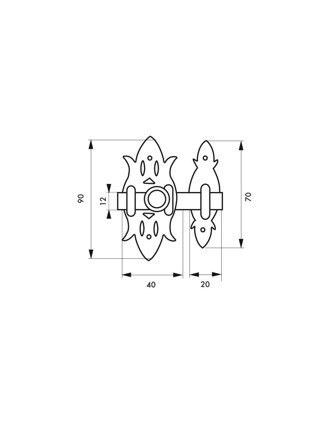 Cerradura de mueble r/ústico lat/ón envejecido 40 x 90 mm Thirard