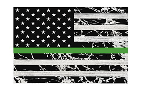 "American Flag w/ Green Line Military Metal Sign 12"" x 8"""