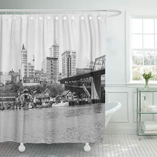 Washington Curtain Shower State - Semtomn Shower Curtain Photograph Tacoma Wa Skyline View of States Washington Lantern 66