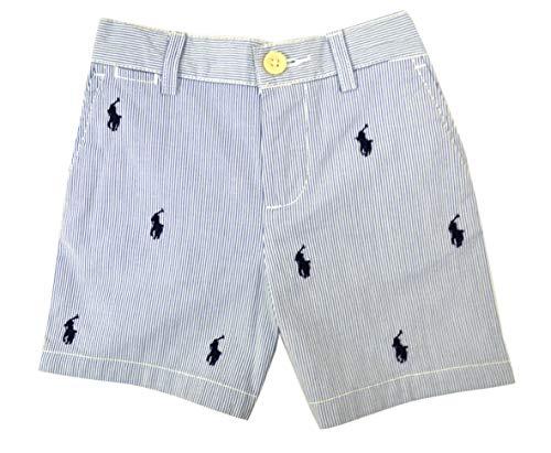 (Ralph Lauren Infant Boys 100% Lightweight Cotton Embroidered Shorts Blue White Striped (12M))