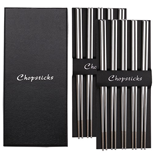 Devico 10 Pairs Premium Quality Metal Chopsticks 18/10 Stainless Steel, Reusable Dishwasher-safe, Lightweight 9.45 Inches Length, Chopstick Set