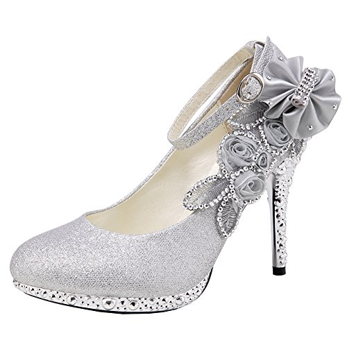 Sequins Silver Women's Closed Strappy Getmorebeauty Shoes Glitter Dress Wedding Flower Toes wBqTdFE