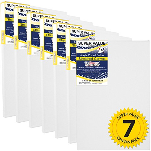 Us Art Supply 11 X 14 Inch Super Value Quality Acid Free Stretched Canvas 7 Pack   3 4 Profile Primed Gesso  Super Value Pack Of 7 Canvases