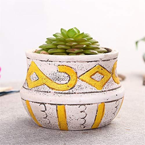 Mini Mediterranean Ceramic Round Bowl Shape Yellow Striped Geometric Green Plant Fleshy Flower Pot, Mug Flower Pot,Garden Flower Potted Juicy Cactus Plant Flower Pot, Indoor Outdoor Window Garden