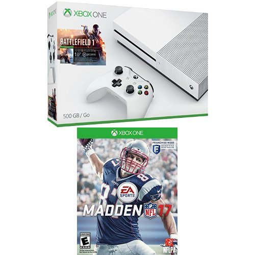Xbox One S 500GB Console - Battlefield 1 Bundle + Madden NFL 17 Game