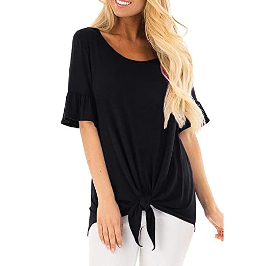 dbe5cf5b155f8 Limsea Women Vest Tops 2019 Fashion Stripe Print Off Shoulder Knotted  O-Neck Flare Sleeve