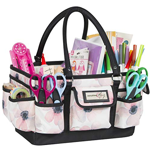 Everything Mary White Flower Deluxe Store and Tote - Storage Craft Bag Organizer for Crafts, Sewing, Paper, Art, Desk, Canvas, Supplies Storage Organization with Handles for Travel -