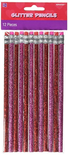 amscan Valentine Pink Glitter Wooden Pencils, 12 Ct. | Party Favor
