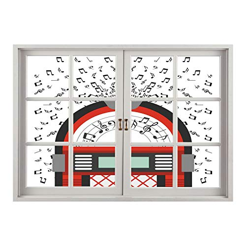 Magazine Jukebox (SCOCICI Creative Window View Home Decor/Wall Décor-Jukebox,Cartoon Party Music Antique Old Vintage Retro Box with Notes Artwork,Red Black Grey and White/Wall Sticker Mural)