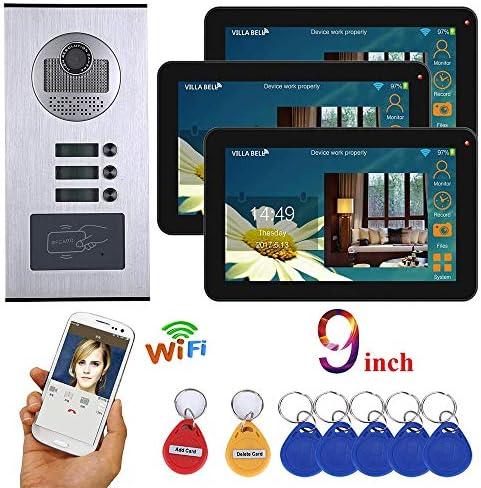 9インチ防水3ボタン3ディスプレイとインターホンシステムRFID IR-CUT HD 1000TVLカメラドアベルカメラWiFi 3アパートビデオドア電話を有線