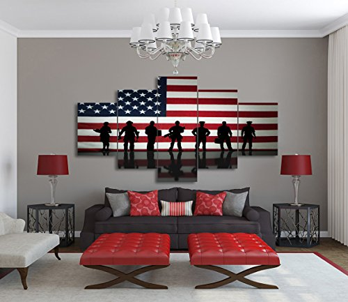 5 Piece Canvas Wall Art Painting Police Pictures for Living Room Military Posters and Prints Patriotic Concept 7th of July Modern Artwork Home Decor Framed Gallery Wrap Stretched(60''W x 32''H) (Patriotic Decor Wall)