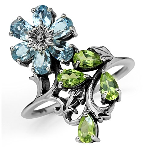 Silvershake Genuine Blue Topaz and Peridot 925 Sterling Silver Flower Leaf Ring