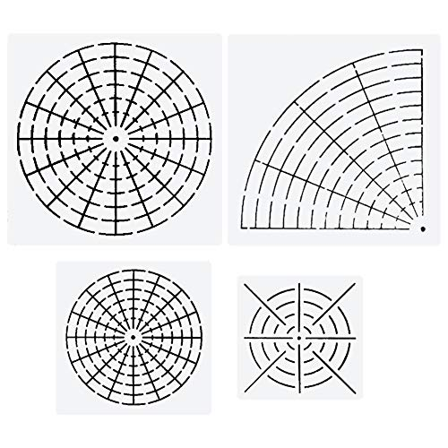 Mandala Dotting Stencils Mylar Painting Templates Mandala Dot Painting Stencils for Painting on Wood, Airbrush and Walls Art, 8/16 Segment (4 Pack) by Bonng