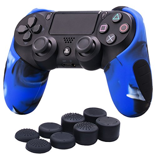 YoRHa Silicone Half extra Thick Cover Skin Case for Sony PS4/slim/Pro controller x 1(camouflage blue) With Pro thumb grips x 8