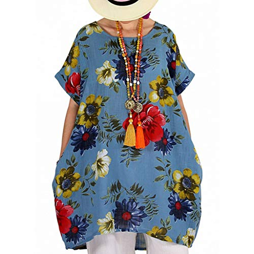 (♡Londony♡ Women's Short Sleeve High Low Loose T Shirt Basic Tee Tops Plus Size O Neck Swing Floral Tunic Tops S-5XL Blue)