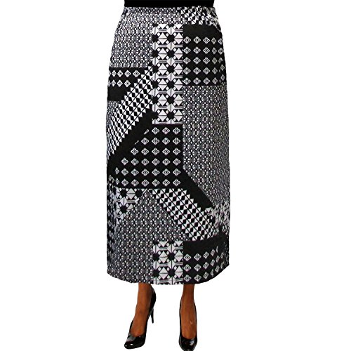 A Personal Touch Women's Plus Size Black & White Geometric Elastic Waist Maxi Skirt - 1X