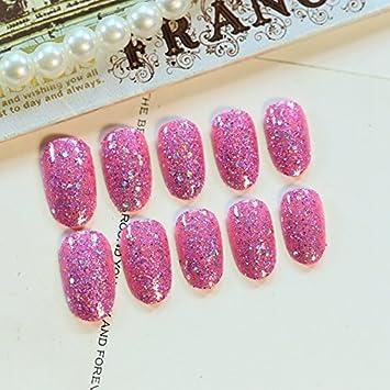 echiq 24 pcs redondo rosa uñas postizas grandes lentejuelas decoración uñas de acabado UV con pegamento adhesivo: Amazon.es: Belleza