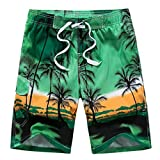 Coconut Trees Swimwear Shorts Men's Surf Shorts Swimming Shorts Green XXL