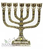 Silver Plated Jerusalem Temple Menorah seven Branches Tribes of Israel Judaica Israel