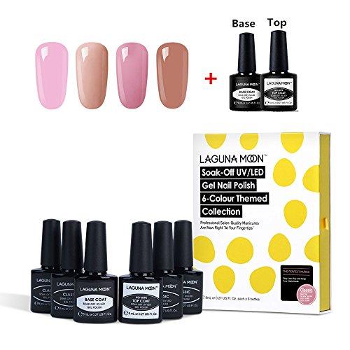 Lagunamoon Gel Nail Polish Set Soak Off UV LED Gel Nail Colours and Gel Base Coat No Wipe Top Coat Nail Polish