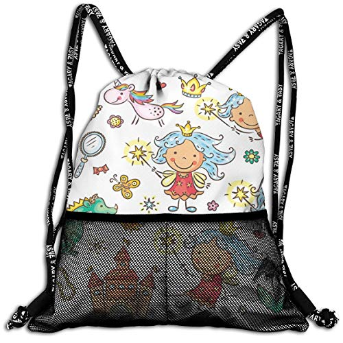 - Drawstring Backpacks Bags,Cartoon Princess Pattern With Magic Wand Dragon Dress Unicorn And Crown Little Child,Adjustable