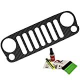 jeep grill overlay - Jeep Grille Skin Die Cut decal overlay Fits Jeep Wrangler JK 2007-2016 Multiple color options: Matte Black, Lime Green, OD Green, Black Carbon Fiber, Pink. Free install kit included. (Black Carbon)