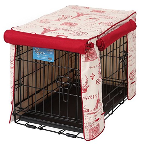 Crate Covers and More Double Door 36 Pet Crate Cover, Parisian Red with Simply Red Twill by Crate Covers and More
