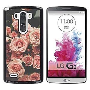 Retro Rose Vignette Primavera Vintage - Metal de aluminio y de plástico duro Caja del teléfono - Negro - LG G3
