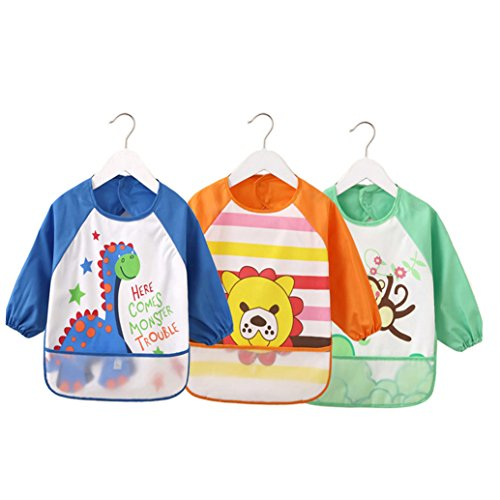 Cute Cartoon Unisex Infant Toddler Baby Waterproof Sleeved Bib, Baby Toddler Smock (6 Months-3 Years) (Light Blue Series)