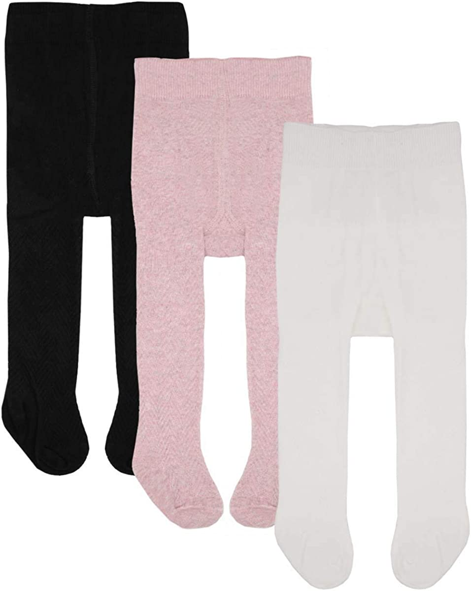 Baby Tights Toddler Girls Boys Tights 3 Pack Knit Cotton Leggings Pants for Infant Stockings 0-4 Years