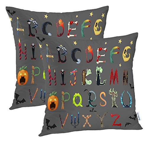 Batmerry Halloween Pillow Covers 18x18 inch Set of 2,English Alphabet Variety Halloween Font Candy Fun Letters Spooky Art Throw Pillows Covers Sofa Cushion Cover Pillowcase]()