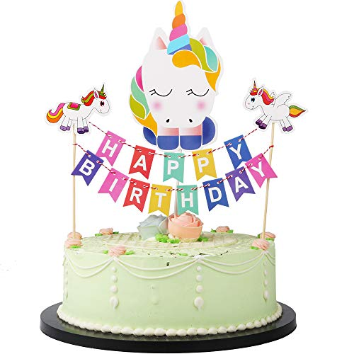 LVEUD Colorful Mini Happy Birthday Cake Topper Banner- Party Cake Decoration Supplies Set (Unicorn)