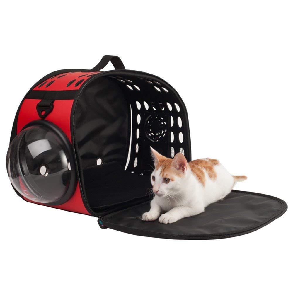 QWhing Travel Car Pet Pet Carrier per Cane, Gatto e Coniglio - Portable Pet Travel Trasportatore Traspirante Trasparente - Rosso Borsa per Animali Domestici