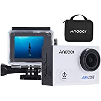Andoer AN5000 4K 24fps WiFi Sports Action Camera Ultra HD 20MP 1080P 60fps Waterproof 30m Gyroscope Anti-shake Support 5X Zoom 2 LCD Screen 170° Wide Angle Lens (White)