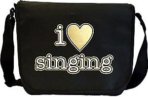 Vocalist Singing I Love Singing - Sheet Music Document Bag Musik Notentasche...